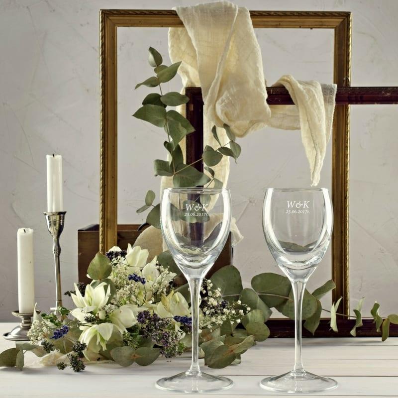 Kieliszki handmade do wina białego z grawerem 2 sztuki