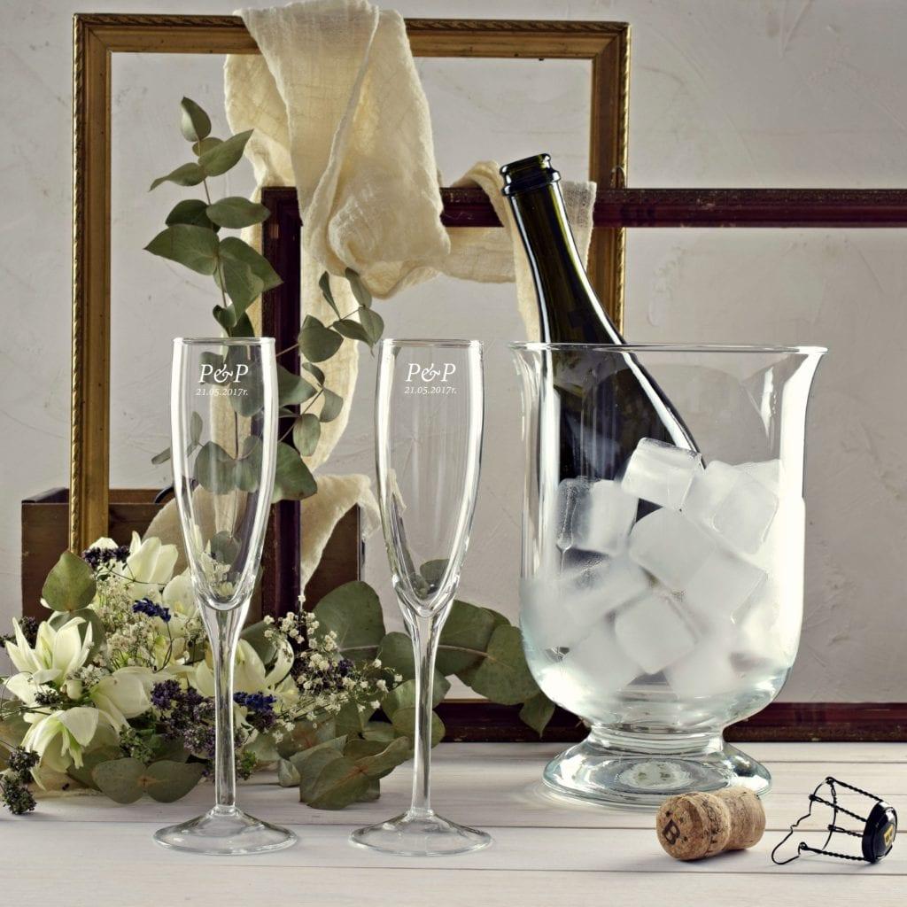 Zestaw cooler i 2 kieliszki do szampana z grawerem