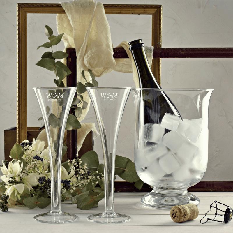 Zestaw cooler i 2 kieliszki do szampana Degas z grawerem