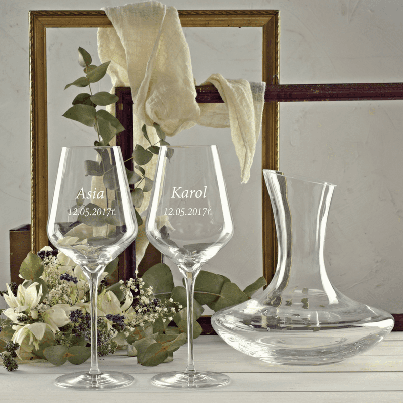 Zestaw design karafka i 2 kieliszki do wina czerwonego z grawerem