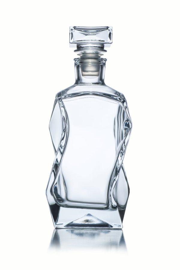 karafka szklana do whisky lamana z korkiem 375