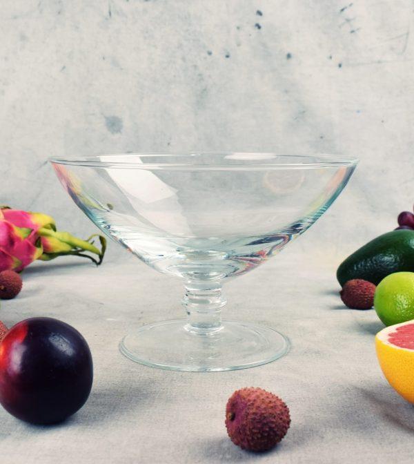 szklana salaterka na nozce owocarka okragla davos