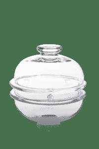 szklany pojemnik z kloszem i uchwytem