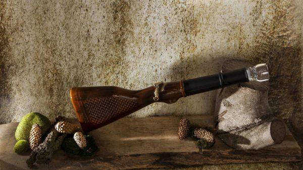 karafka na nalewke szklana recznie malowana strzelba