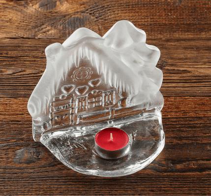 swiecznik szklany ozdobny chatka z pierniczkami