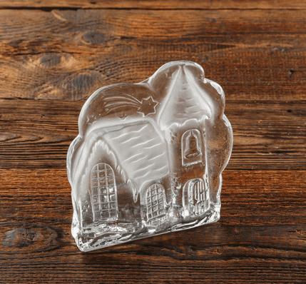 swiecznik szklany dekoracyjny zamek