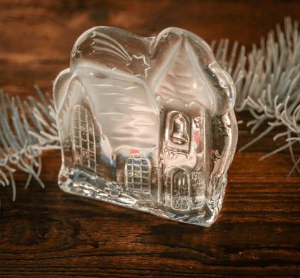swiecznik ozdobny szklany zamek