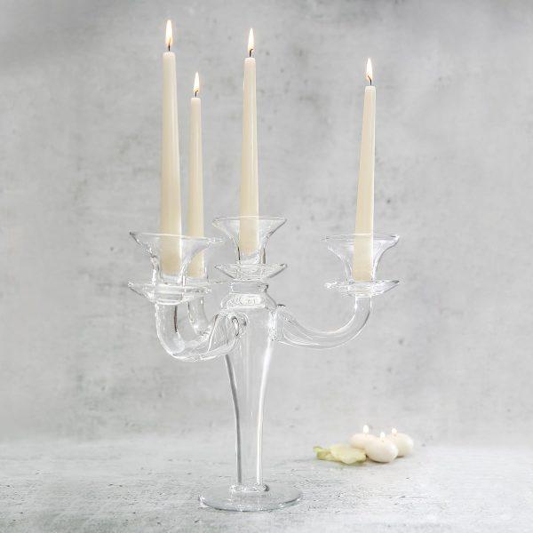 szklany swiecznik trojramienny dekoracyjny