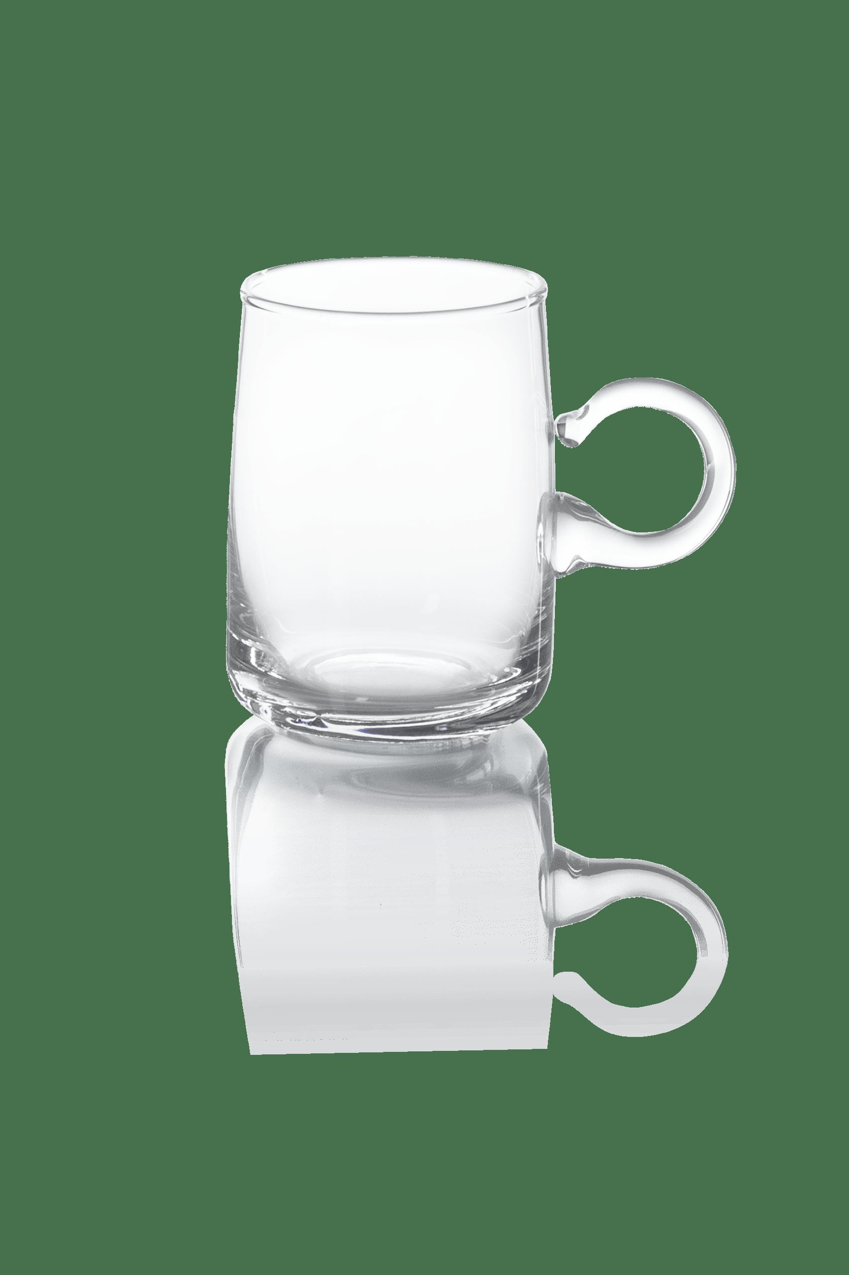 przezroczysta szklanka z uchem do herbaty cienka