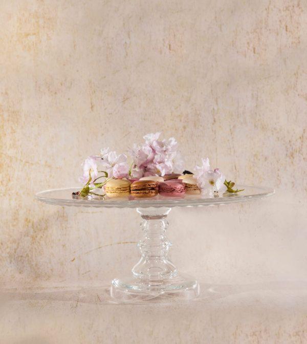 szklana tortownica do ciastek i ciasta karo