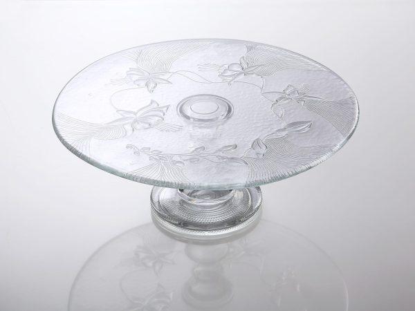 szklana tortownica do ciasta w kwiatki