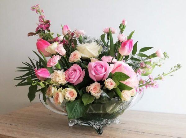 zardiniera szklana na kwiaty ozodobna